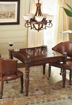 Just as handsome as it is versatile, Mandalay Game Table with Chairs is crafted with a unique magnetic-catch mechanism that helps you effortlessly switch from chess to a solid tabletop perfect for cards.