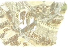 An oblique aerial view of the reconstruction of the East Gateway of Troy VI. From Troy c. BC Fortress Series Osprey Publishing, by Nick Fields Illustrated by Donato Spedaliere and Sarah Sulemsohn Mycenaean, Minoan, Turm Von Babylon, Sea Peoples, Osprey Publishing, Fortification, Prehistory, Historical Pictures, Bronze Age
