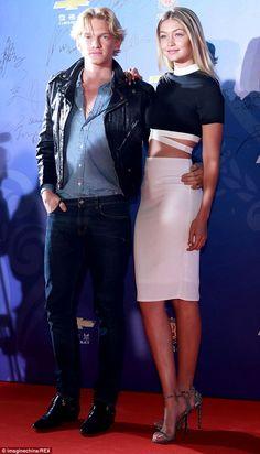 Gigi Hadid.. Missguided - Tereza Contrast Crop Top and Candace Scuba Midi Skirt; with Stuart Weitzman Nudist Sandals..