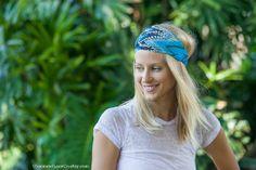 Boho Chiffon Headwrap - Peacock Blue headband - turban hair wrap head covering head scarf head wrap (item no. HW3-38) via Etsy
