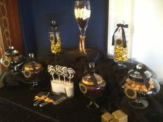 Black and Gold Wedding Candy Bar from Sweet Treats Candy Buffet, San Antonio