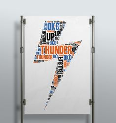 Who loves the #thunder. Surely there are some #OKC fans who would love this! #wordart #wallart #decor #interior #kidsroom #gameroom #giftidea #personalized #creative #print #poster #handmade #printshop