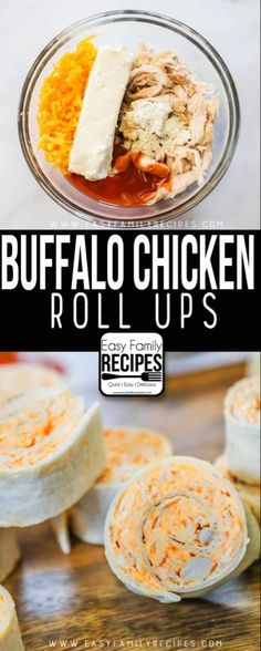 The BEST Buffalo Chicken Roll Ups recipe- Made with buffalo sauce, chicken, cream cheese, ranch and cheddar. chicken dinner The BEST Buffalo Chicken Roll Ups Recipe - Easy Family Recipes Buffalo Chicken Roll Up, Chicken Roll Ups, Buffalo Chicken Pinwheels, Chicken Dips, Buffalo Chicken Recipes, Recipes With Buffalo Sauce, Buffalo Recipe, Buffalo Chicken Sandwiches, Chicken Appetizers