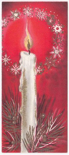 Vintage Greeting Card Christmas Candle Hallmark Slim Jims Snowflake Flame | eBay