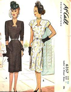 Vintage Sewing Pattern Dress McCall 6357