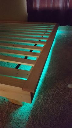 How to build a beautiful DIY bed frame & wood headboard easily. Free DIY bed plan & variations on king, queen & twin size bed, best natural wood finishes, and lots of helpful tips! - A Piece of Rainbow Bed With Led Lights, Bed Lights, Night Lights, Led Bedroom Lights, Cool Lights For Bedroom, Led Light Bed, Decoration Bedroom, Home Decor Bedroom, Diy Bedroom
