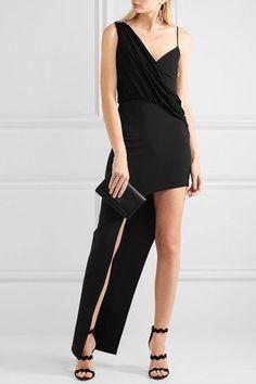 Versus Versace - Asymmetric Jersey-trimmed Stretch-crepe Gown - Black - IT42