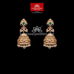 Mesmerizing collection of gold earrings from Kameswari Jewellers. Shop for designer gold earrings, traditional diamond earrings and bridal earrings collections online. Gold Jhumka Earrings, Buy Earrings, Jewelry Design Earrings, Gold Earrings Designs, Gold Jewellery Design, Designer Earrings, Earrings Online, Gold Designs, Necklace Designs