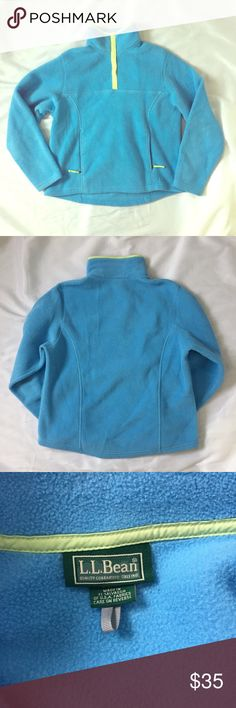 LL Bean // Snap Neck Fleece Pullover EUC snap neck fleece pullover with zipper pockets from LL Bean. Light blue with lime green trim. Fleece has typical light signs of wear from washing. No stains or holes. 🚫trades🚫 smoke free home L.L. Bean Tops Sweatshirts & Hoodies