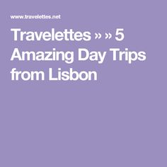 Travelettes »  » 5 Amazing Day Trips from Lisbon