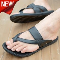 Mens toe loop sandals sandals 2014 summer casual male slippers toe-covering plus size leather slippers male !HOT 2014 US $38.97