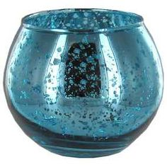 Blue Distressed Metallic Roly Poly Votive Candle Holder