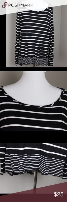 Black and White Striped Long Sleeve High Low Top This is a BCBG Max Azria top. It would be a great addition to any closet. Measurements; armpit to armpit: 20' length: 25' BCBGMaxAzria Tops Tees - Long Sleeve