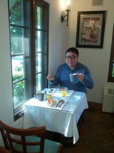 Full-service breakfast @ Eagle Inn (Santa Barbara, CA) started with a bowl of fruit.