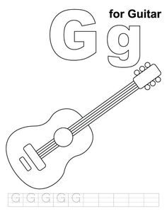 fender guitar coloring pages g for page with handwriting practice download