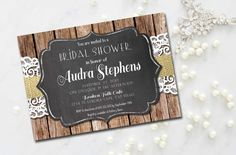 Rustic Bridal Shower Invitation Burlap by MermaidMonkeyDesigns