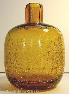 Blenko Crackle Glass #6424 Bud Vase - Honey color - ca. 1964