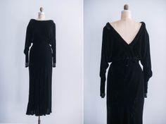 1930s Black Silk Velvet Jeweled Cuff Gown on Etsy, $385.00