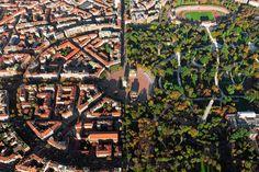 Milano, Italy. Aerial view. Parco sempione dall'alto