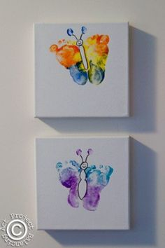 """Footprint butterflies-wanting to do this this summer; frame and decorate a hallway or maybe liven up a laundry room. Hope to add our littles to our """"garden"""" this summer!"""