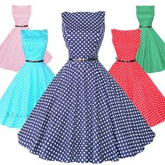 Maggie Tang 50S Vtg Retro Pinup Rockabilly Polka Dot Housewife Swing Dress K-533