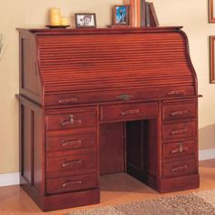 Palmetto Deluxe Roll Top Cherry Computer Desk by Coaster