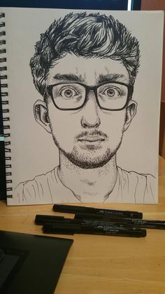 Ink drawing of a man who kind of looks like Justin Roiland Black Pen on sketch paper 9x12