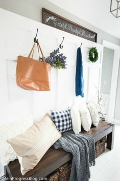 This stunning farmhouse fall home tour features shades of navy blue, mauve, deep purples and muted greens. It's a must-see color scheme that will have you rethinking those traditional rusty oranges and warm reds! Hallway Decorating, Entryway Decor, Decorating Your Home, Entryway Ideas, Decorating Ideas, Hallway Ideas, Decor Ideas, Garage Entryway, Home Decor Bedroom