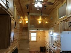 Wyoming Tiny House, view of stairs and sleeping loft.