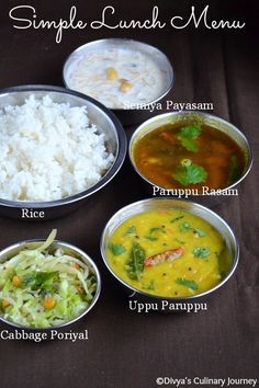 South Indian Vegetarian Lunch Menu