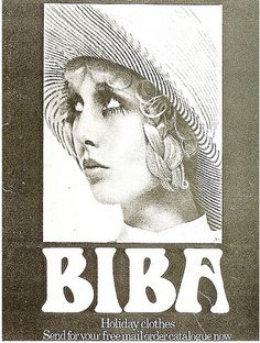 ilustration BIBA ad for Holiday Clothes Mail Order Catalogue. Biba Fashion, Vintage Fashion, Vintage Beauty, Retro Fashion, Barbara Hulanicki, Swinging London, Holiday Outfits, Holiday Clothes, Black And White Design