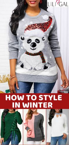 Free Shipping & Easy Return. Liligal cute tops, Christmas sweaters, cozy sweater cardigans, comfy fall winter outfits for women, shop now~ #liligal #womensfashion #cardigan #sweater