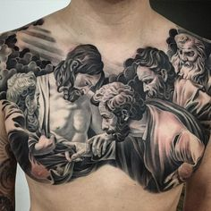 Badass chestpiece by Noah Minuskin inspired by a painting by Caravaggio...