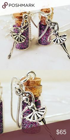 """Ballerina PIxie Bottle Necklace LOWEST PRICE  925 Sterling Silver snake chain and box chains roughly 30"""" in length with a glass dust bottle filled with colorful glitter. Silver Plated Ballerina Charms  Magen's Fairytale Creations original handmade by me undefined Jewelry Necklaces"""