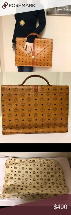 41b748e8e2507 MCM Visetos COGNAC Coated Canvas Vintage Briefcase Crafted out of brown  visetos coated canvas