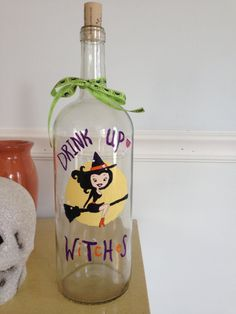 Halloween Decoration Hand painted wine bottle trendy witch - Drink up Witches - lighted wine bottle JillianBCreations on Etsy, $35.00