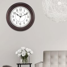 Battery Operated Round Brown Wall Clock with Silent Movement Home Decor 12 Inch #WallClock  #SilentMovement #Brown #Analog #Clock  #Home #Office #Kitchen #Dining #HomeDecor #Decor #WallHang #WallDecor #Wall