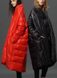 Boxy Paneled Down Coat In Red or Black