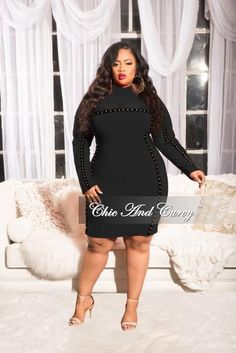 2a3b3d555c Final Sale Plus Size Long Sleeve Mesh BodyCon Dress with Black Trim and  Gold Studs in