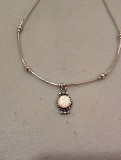 Opal Sterling Necklace Silver 925 Genuine Australian Stone Pendant Vintage 70s Jewelry Bridal Prom Wedding Gift Victorian Boho Chic White on Etsy, $43.00