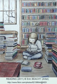 READING (2011) © Erin BEACHY (Artist) via flickr. Girl, Bookcase, Books. ... Pin from the Primary Source.