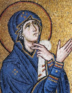 Virgin Mary. Mosaic, detail from the depiction of the Crucifixion. c. AD 1080. Daphni Monastery, Athens.