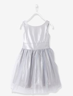 Girls Sateen and Tulle Occasion Dress - Blush+Iridescent grey+White - 3