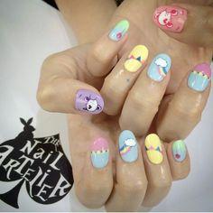 Cute nails of Care Bears 80s Nails, Prom Nails, Bling Nails, Cute Nails, Pretty Nails, Sharp Nails, Nail Polish Colors, Nail Inspo, Beauty Nails