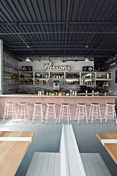 restaurant interior - like the shelving! Great way to create extra storage. Colorful bar design and simple stools. Café Bar, Commercial Design, Commercial Interiors, Bar Deco, Design Innovation, Restaurant Interior Design, Restaurant Interiors, Chicago Restaurants, Hospitality Design