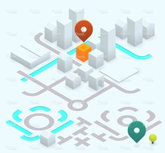 DIY map kit #isometric http://www.istockphoto.com/vector/do-it-yourself-map-kit-30-isometric-63395633 anil yanik