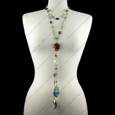 Collar Dos Lajas Morado/Turquesa – Jenny Rabell Tienda en Línea