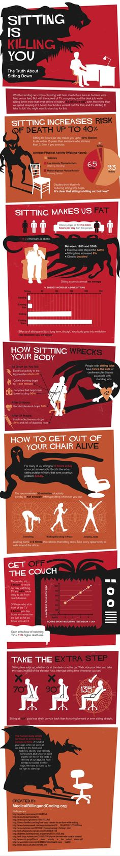 "Health dangers of ""sitting"" #Infographic______________So it looks like I'm going to die within 15 years. Add Pinterest to that equation and it now looks closer to 5. Oh well."