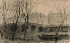 Charles-François Daubigny (French, 1817 - 1878) A view of the Seine docs and the Pont Marie, Paris (Vue des quais de Seine et du Pont Marie, Paris), N/D Charcoal, 28 x 44,50 cm