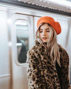 leopard print jacket & orange beret. △@BIBIJOUX